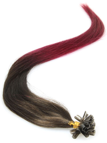 I&K Pre Bonded Nail Tip Human Hair Extensions #T2/Burg 14 inch