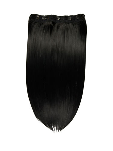 I&K Clip In Synthetic One Piece Hair Extensions #1-Jet Black 24 inch