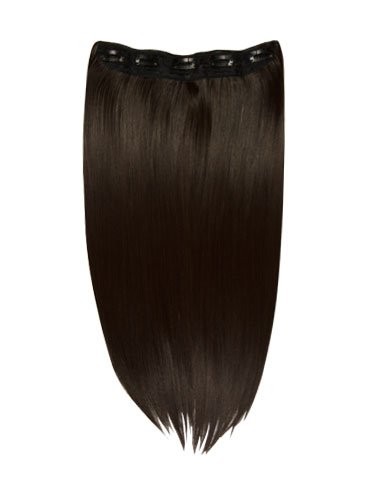 I&K Clip In Synthetic One Piece Hair Extensions #2-Darkest Brown 24 inch