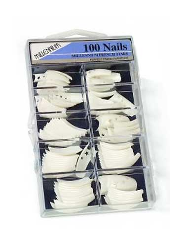 Millennium 100pcs French White Star Nail Tips