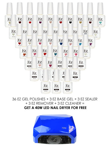 EZ Gel 48 Piece Set with free 40W LED Nail Lamp Dryer