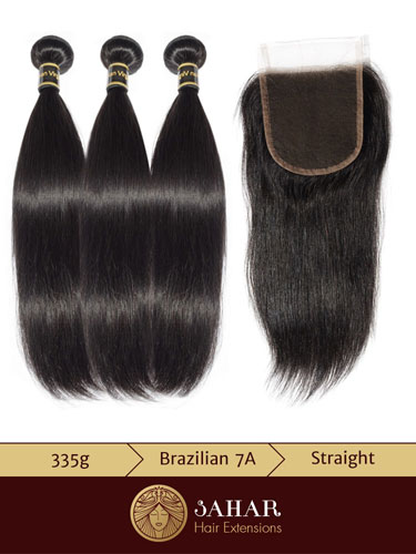 3 Bundles Virgin Brazilian Hair Extensions - Straight [7A] (300g) + Free Part Lace Top Closure