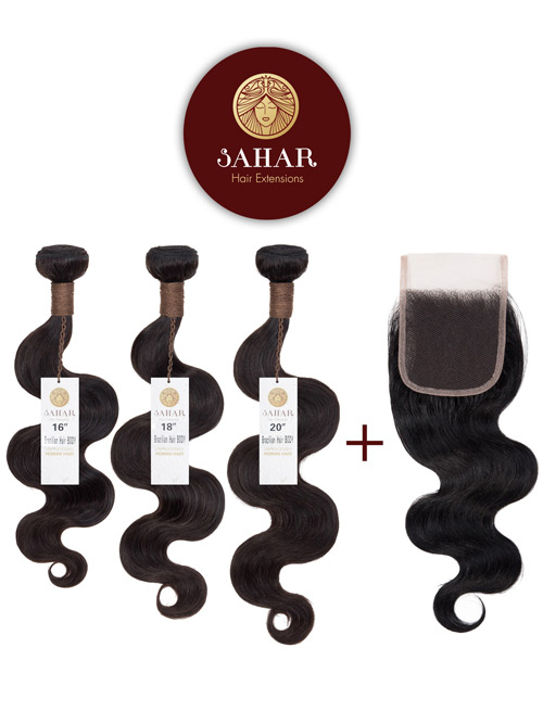 Sahar Unprocessed Brazilian Virgin Weft Hair Extensions and 4 inch X 4 inch Closure Bundle 3+1 - Body Wave