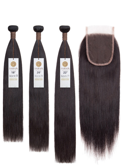 Sahar Unprocessed Brazilian Virgin Weft Hair Extensions and 4 inch X 4 inch Closure Bundle 3+1 - Straight