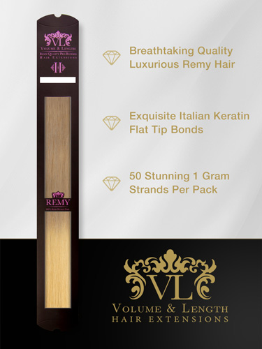 VLII Pre Bonded Flat Tip Remy Hair Extensions #T18/22 18 inch
