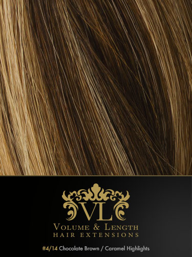 VLII Weft / Weave Remy Hair Extensions #4/14-Chocolate Brown with Caramel Highlights 16 inch 50g