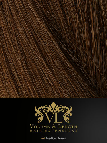 VLII Weft / Weave Remy Hair Extensions #6-Medium Brown 16 inch 50g