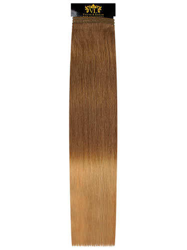 VL Remy Weft Human Hair Extensions #T7/14-Dip Dye Chestnut Brown to Caramel 18 inch 100g