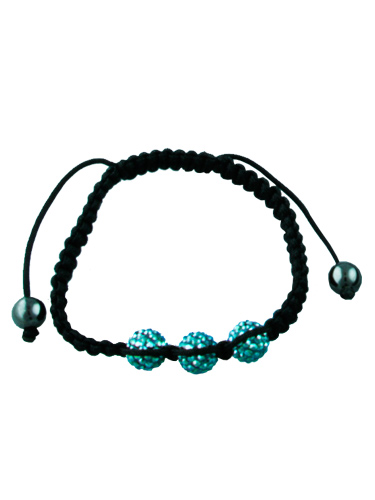 Crystal Bead Bracelet - 3 Light Blue Beads