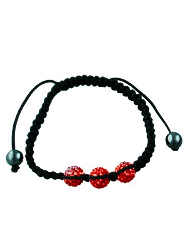 Crystal Bead Bracelet - 3 Red Beads