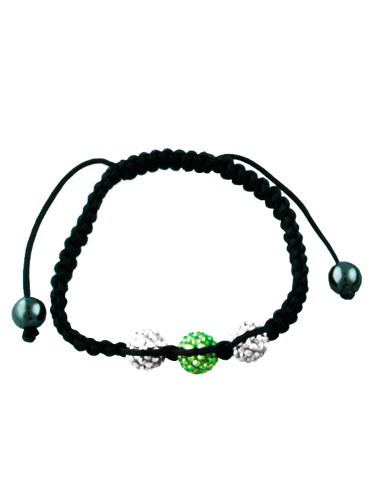 Crystal Bead Bracelet - 3 Silver and Green Beads