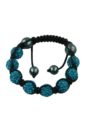 Crystal Bead Bracelet - 8 Blue Beads