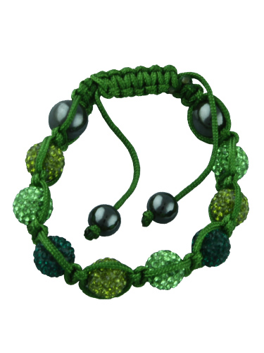 Crystal Bead Bracelet - 8 Green Beads