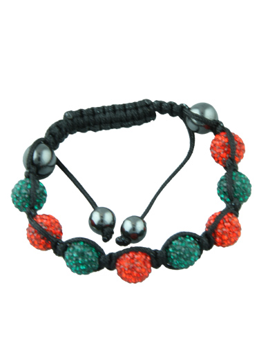 Crystal Bead Bracelet - 8 Green and Red Beads