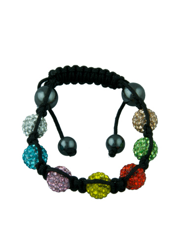 Crystal Bead Bracelet - 8 Multicoloured Beads