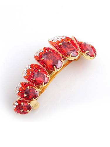 Hair Barretes - Red zircon with Gold frame