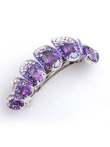 Hair Barrettes - Deep Purple zircon