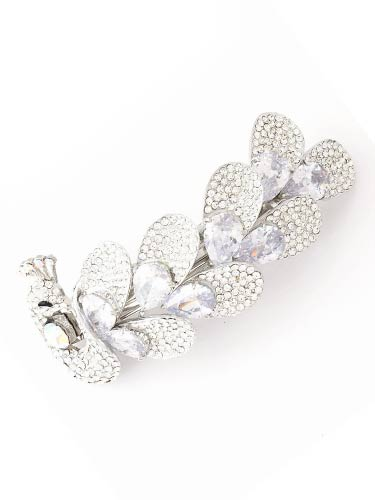 Hair Barrettes -  White Zircon Peacock