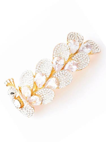 Hair Barrettes - White Zircon Peacock  with Gold Frame