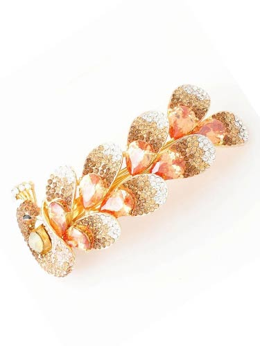 Hair Barrettes -  Champagne Zircon Peacock