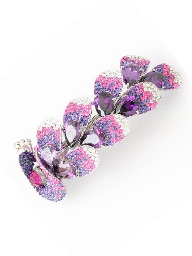 Hair Barrettes - Purple Zircon Peacock