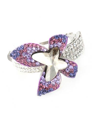 Hair Barrettes -  Geometric  Butterfly (Purple)