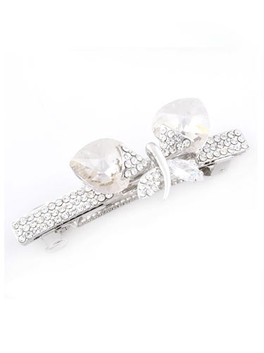 Hair Barrettes -  Crystal  Butterfly (White)