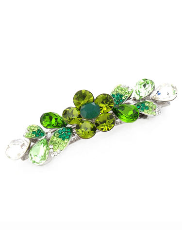 Hair Barrettes -  Crystal Geometry(Olive)