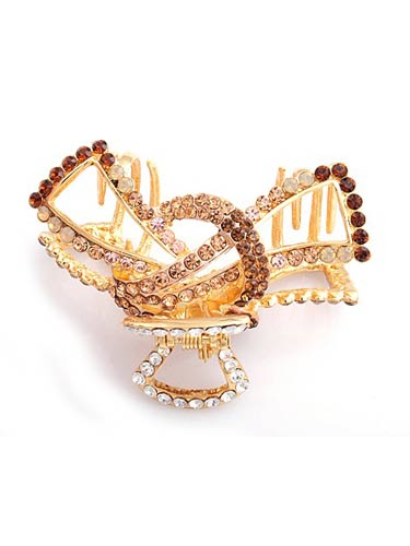 Hair Claw Clips - Large Ribbon (Gold)