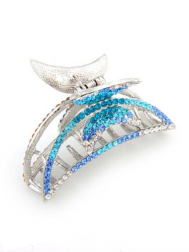 Hair Claw Clips - Aqua / Silver
