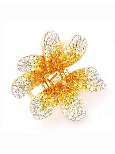 Hair Claw Clips - Flower (Yellow Fade to Silver)