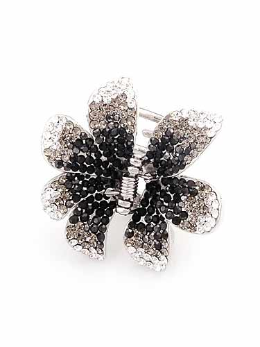 Hair Claw Clips - Flower (Black and Silver)