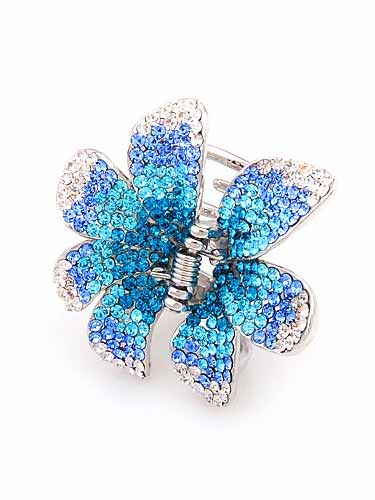 Hair Claw Clips - Flower (Blue Fade to Silver)