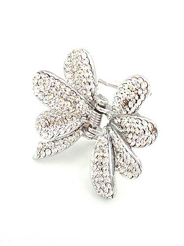 Hair Claw Clips - Flower (Silver)