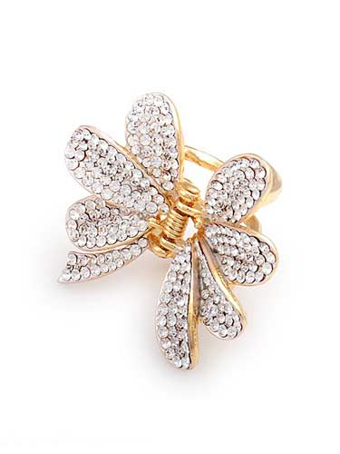 Hair Claw Clips - Flower (Silver with Gold Trim)