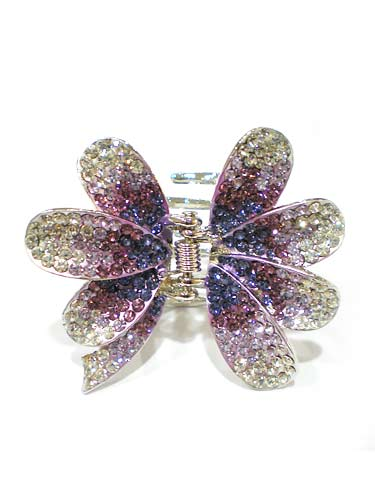 Hair Claw Clips - Flower (Dark Purple Fade to Silver)