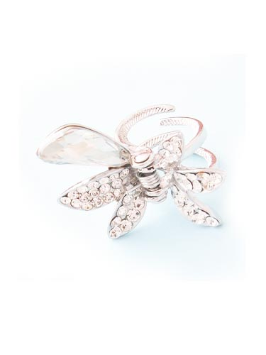 Hair Claw Clips - Ribbon (Silver)