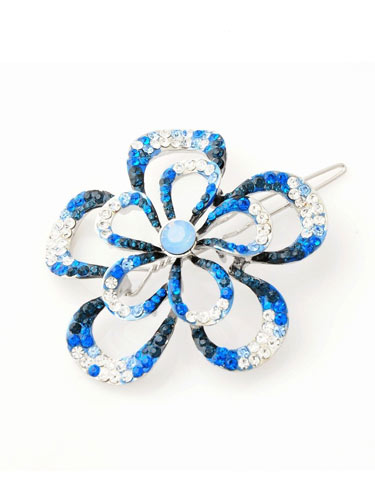 Hair Clips - Large Blue Flower