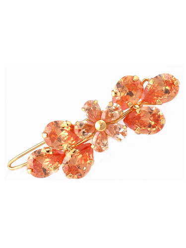 Hair Clips - Peach Flower