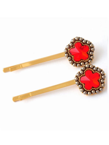Hair Slides - Red Star