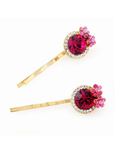 Hair Slides - Pink Flower