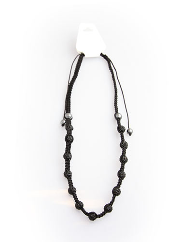Crystal Bead Necklace - Black
