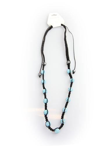 Crystal Bead Necklace - Light Blue