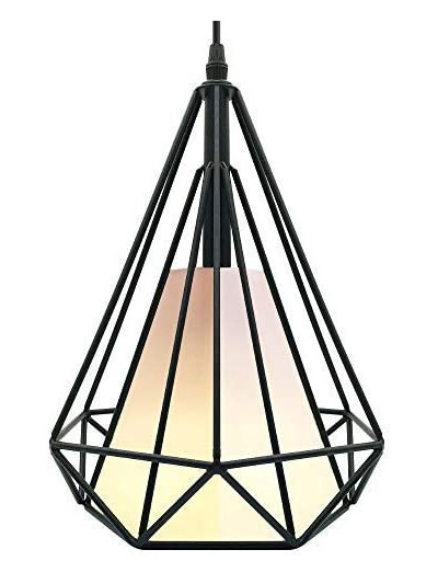 CREATE BRIGHT Retro Style Industrial Loft Metal Chandelier Ceiling Pendant Light - Black Iron Basket Cage Hanging Lamp