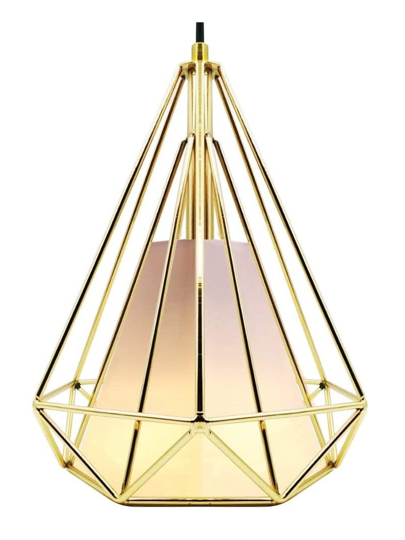 CREATE BRIGHT Retro Style Industrial Loft Metal Chandelier Ceiling Pendant Light - Gold Iron Basket Cage Hanging Lamp