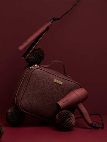Alfa Italia Viaggio Burgundy Travel Styling Kit (Hair Dryer and Hair Straightener)