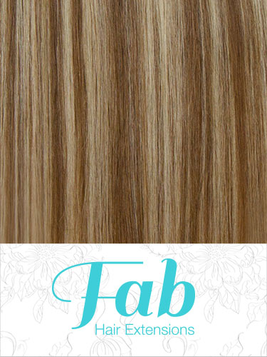 Fab Clip In Remy Hair Extensions - Full Head #6/613-Medium Brown with Lightest Blonde Highlights 20 inch