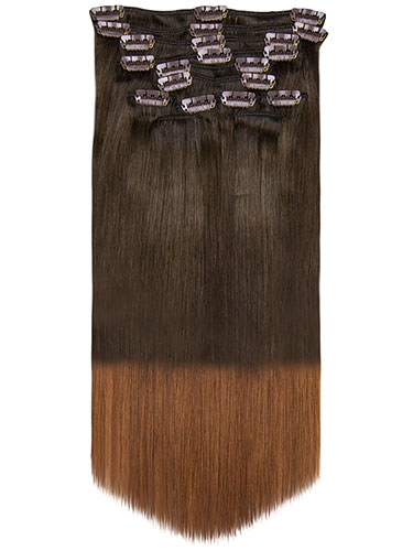 Fab Clip In Remy Hair Extensions - Full Head #T2/30-Dip Dye Darkest Brown to Auburn 24 inch