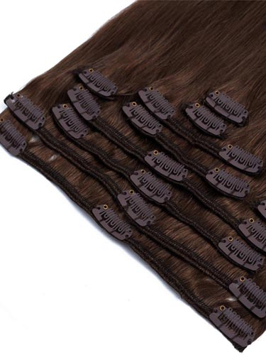 Fab Clip In Remy Hair Extensions - Full Head #2-Darkest Brown 15 inch