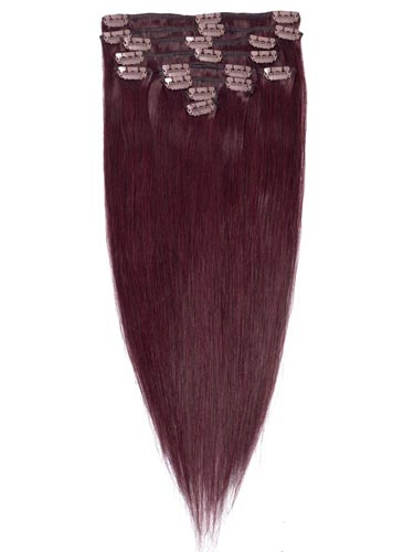 Fab Clip In Remy Hair Extensions - Full Head #32-Dark Reddish Wine 24 inch